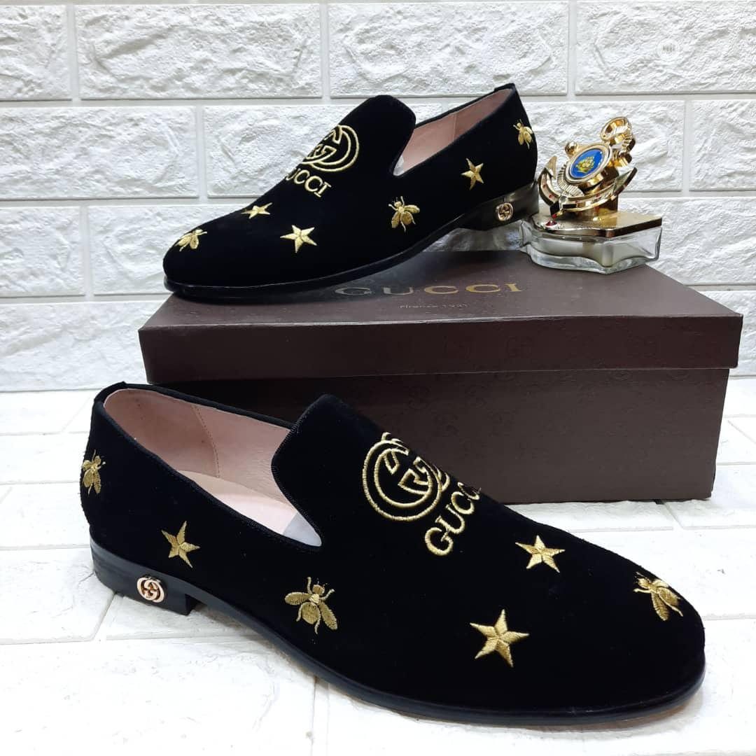 Black Leather Suede Gucci Shoe Made