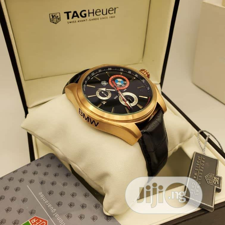 TAG Heuer Chronograph Gold Leather Strap Watch