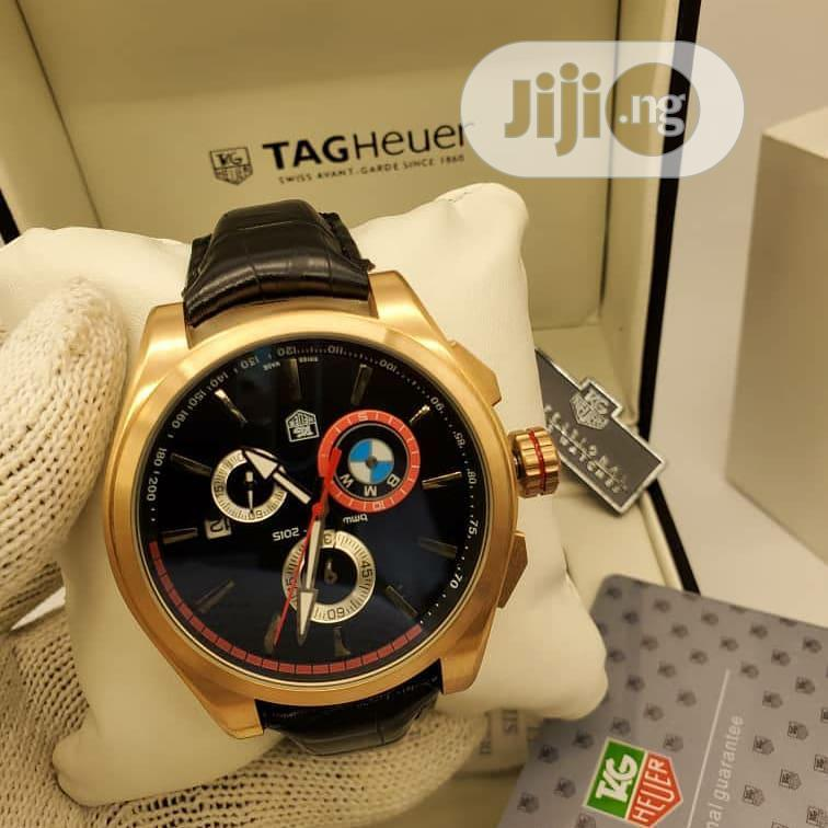 TAG Heuer Chronograph Gold Leather Strap Watch | Watches for sale in Lagos Island (Eko), Lagos State, Nigeria