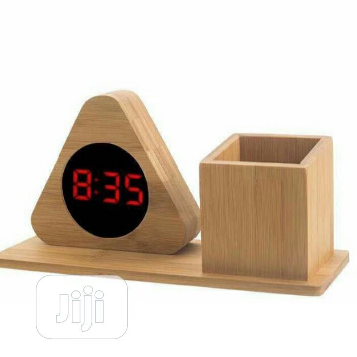 Led Digital Clock With Pen Holder