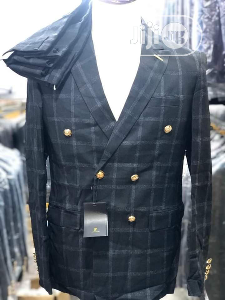 Double Breasted Checked Suit