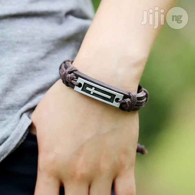 Men's Cross Alloy Leather Bracelet