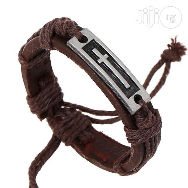 Men's Cross Alloy Leather Bracelet | Jewelry for sale in Lagos State, Nigeria