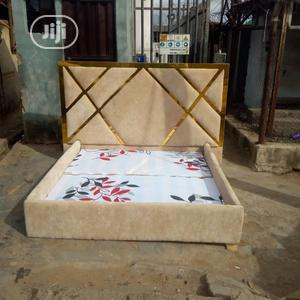 Bespoke Leather Padded Bed With Gold Design | Manufacturing Services for sale in Lagos State, Ikeja