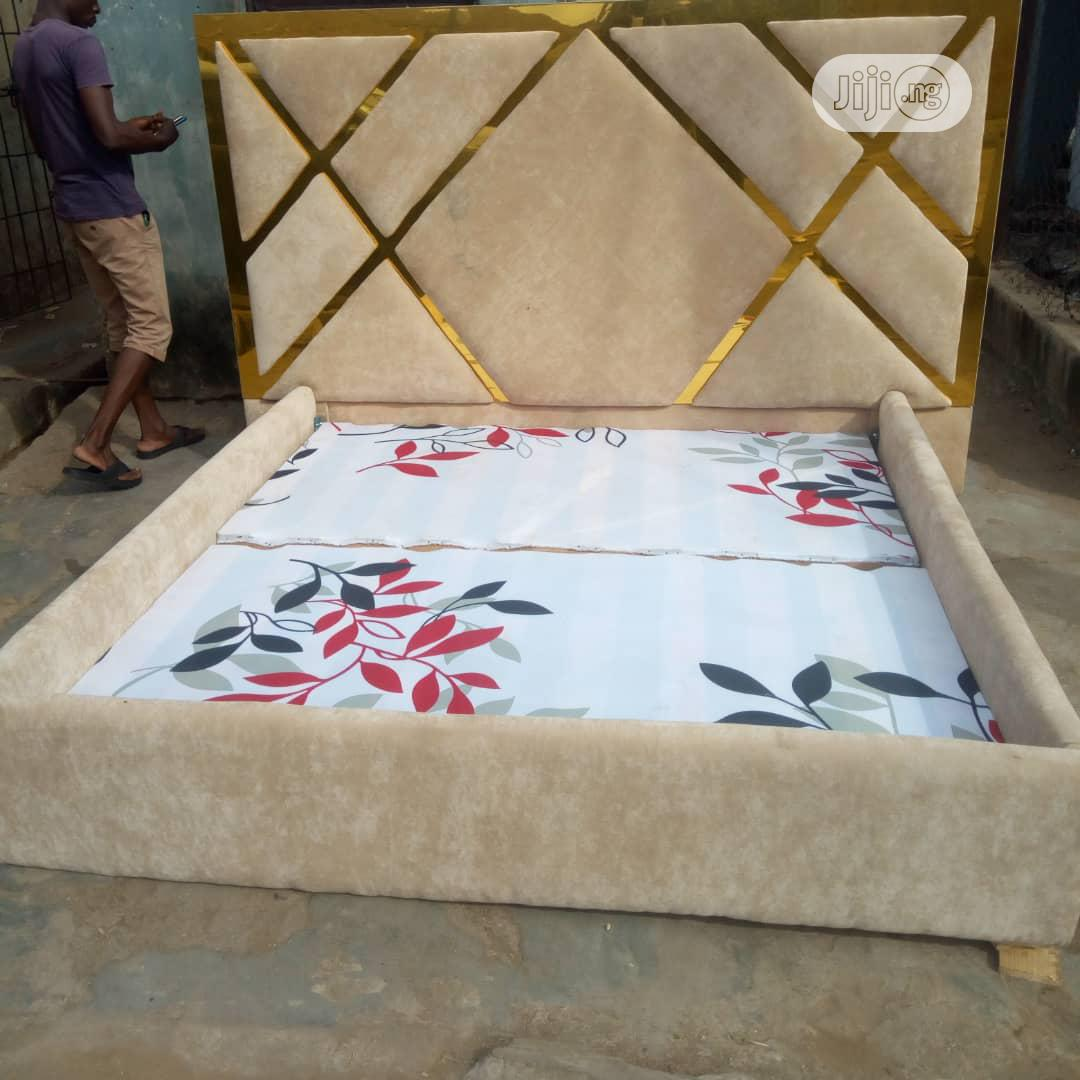 Bespoke Leather Padded Bed With Gold Design | Manufacturing Services for sale in Ikeja, Lagos State, Nigeria