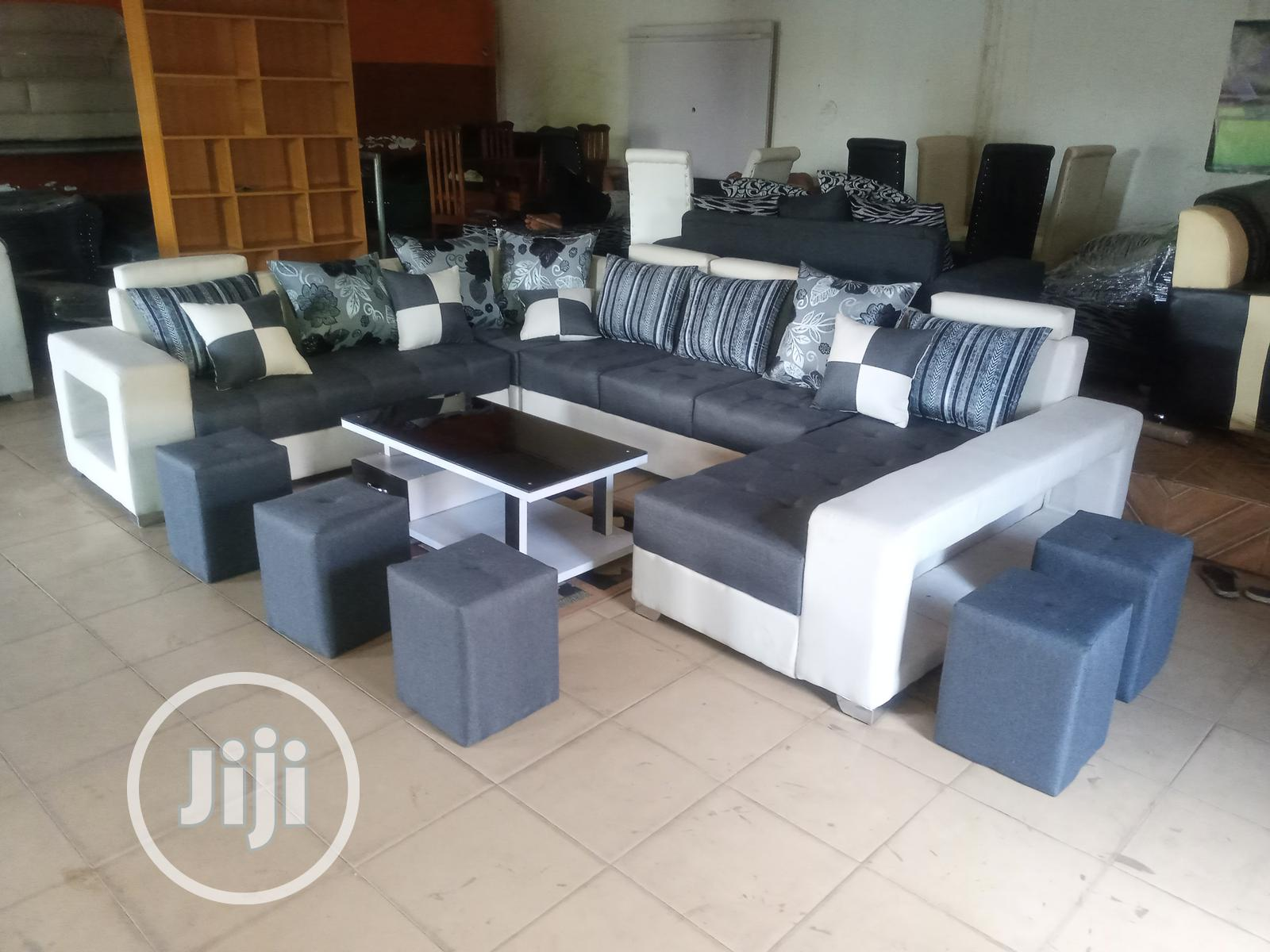 U-Shaped Sofa Chairs With Table and Stools. Fabric Couches