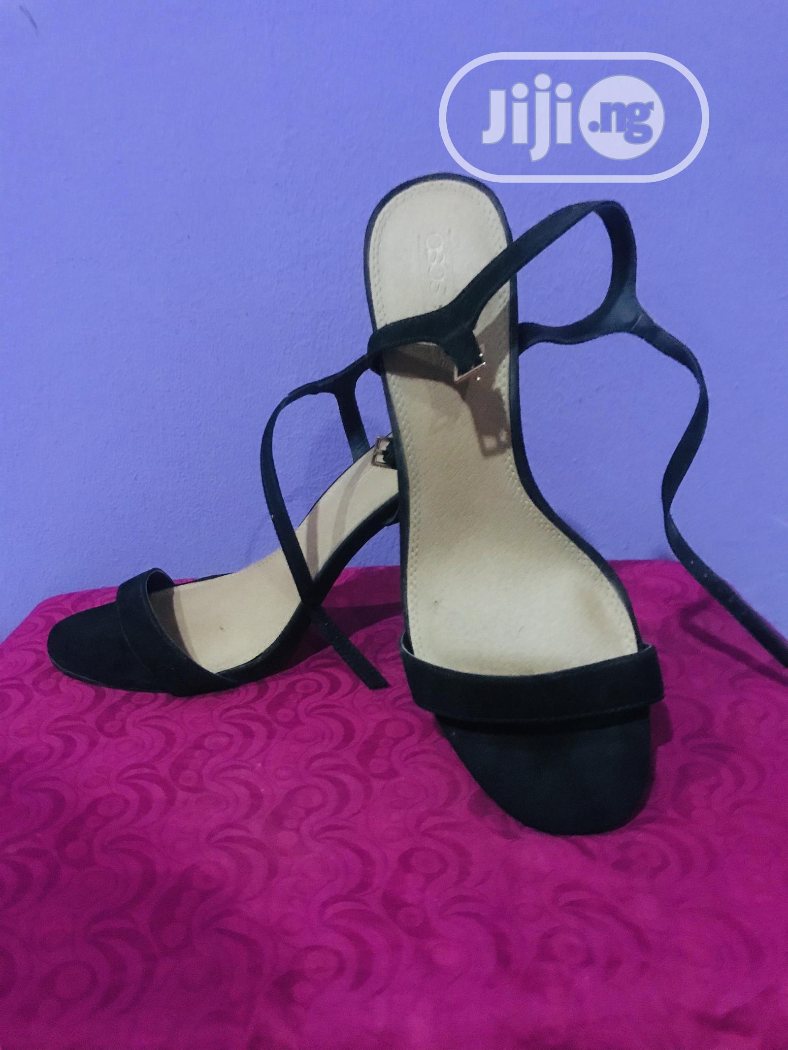 Archive: Asos Suede Black Strappy Sandal Heels