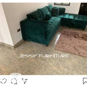 New Set of L-Shaped Sofa,With Ottoman Green Velvet | Furniture for sale in Lagos State, Lekki