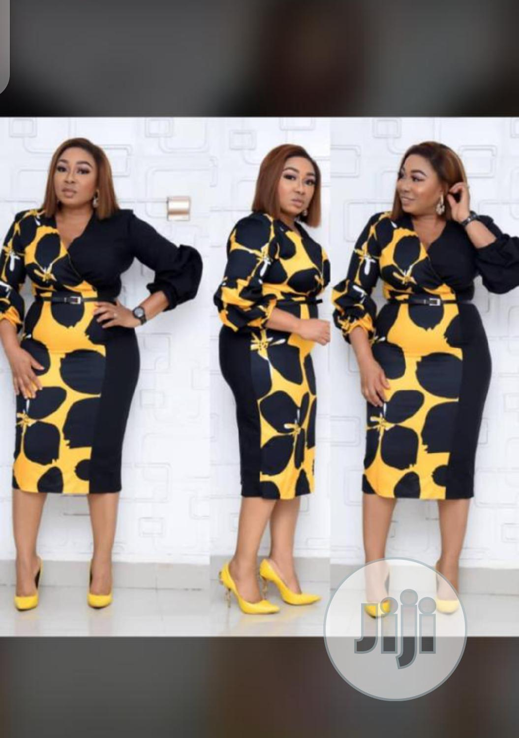 Lovely Ladies Yellow Dress With Black Patches
