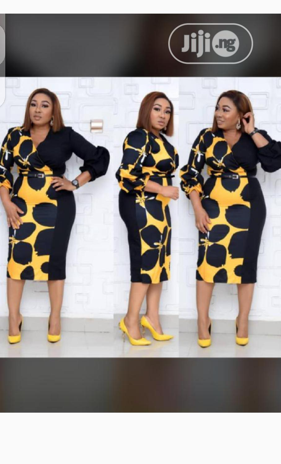 Lovely Ladies Yellow Dress With Black Patches | Clothing for sale in Lagos Island, Lagos State, Nigeria