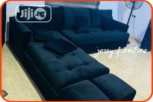 Black Velvet Sofa..With Two Pieces Of Ottoman... | Furniture for sale in Lagos State, Amuwo-Odofin