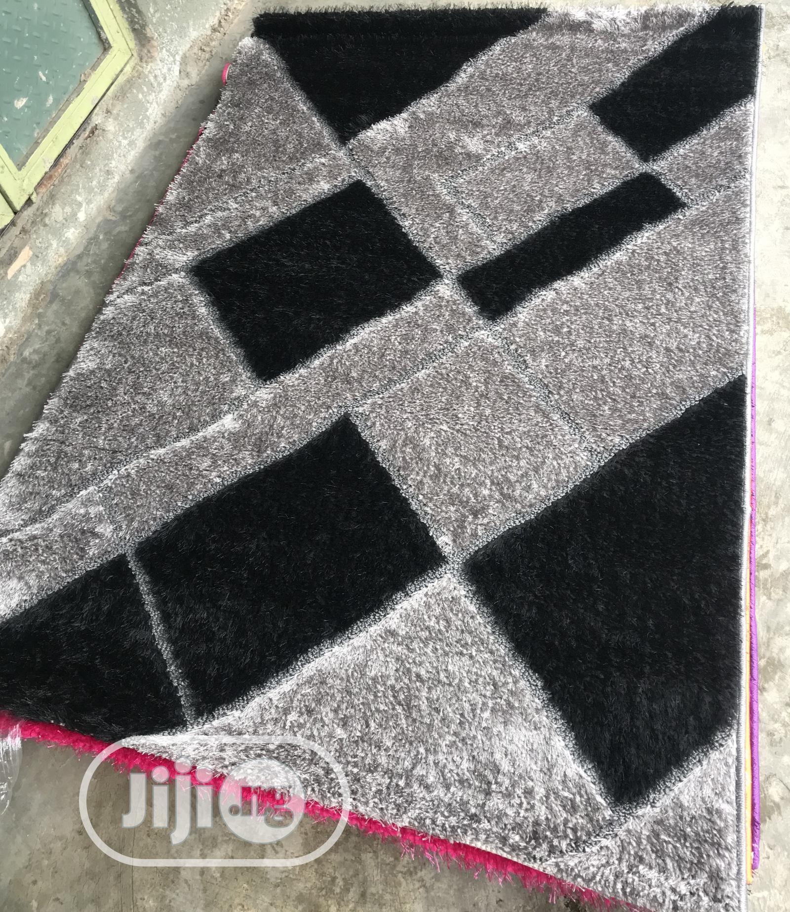 Soft Black And Ash Design Fluffy Design Center Rugs