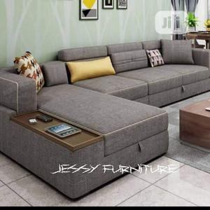 New Set of L-Shaped Sofa.With Wooden Remote Holder | Furniture for sale in Lagos State, Isolo