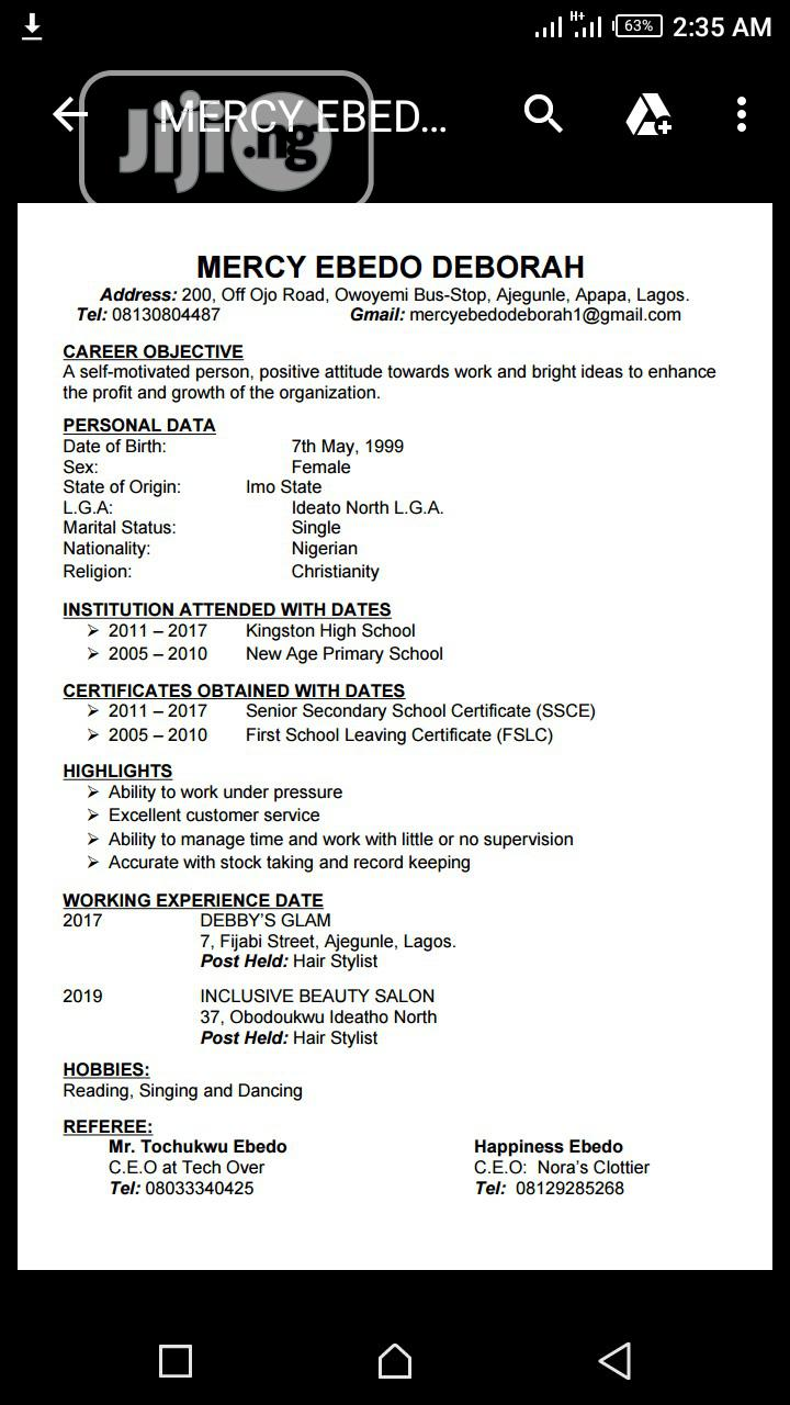 Health Beauty CV | Sales & Telemarketing CVs for sale in Surulere, Lagos State, Nigeria