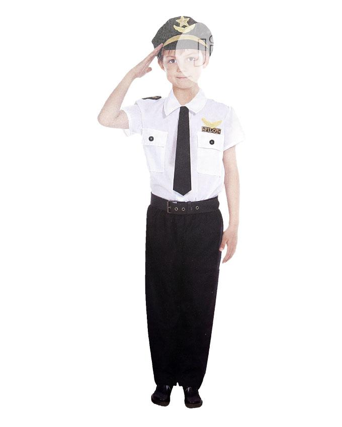Complete Pilot Costume-black, White With Touch Of Gold.