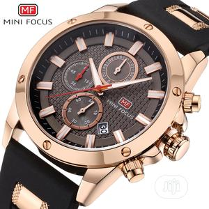 MINIFOCUS Calendar Waterproof Chronograph Black Gold Watch   Watches for sale in Lagos State, Victoria Island