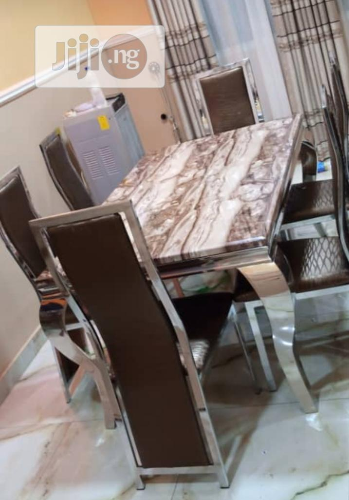 High Quality Imported Marble Dining With Six Chairs