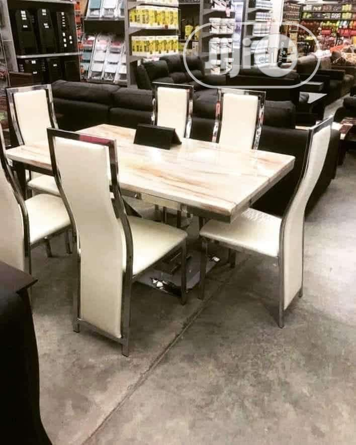 High Quality Imported Love Leg Marble Dining Table With Six Chairs
