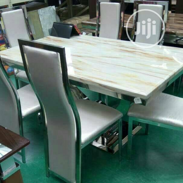 High Quality Imported Love Leg Marble Dining Table With Six Chairs | Furniture for sale in Kubwa, Abuja (FCT) State, Nigeria
