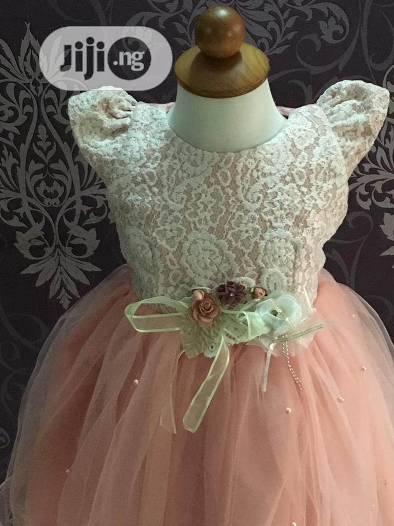 Peach Lace Tulle Ball Dress