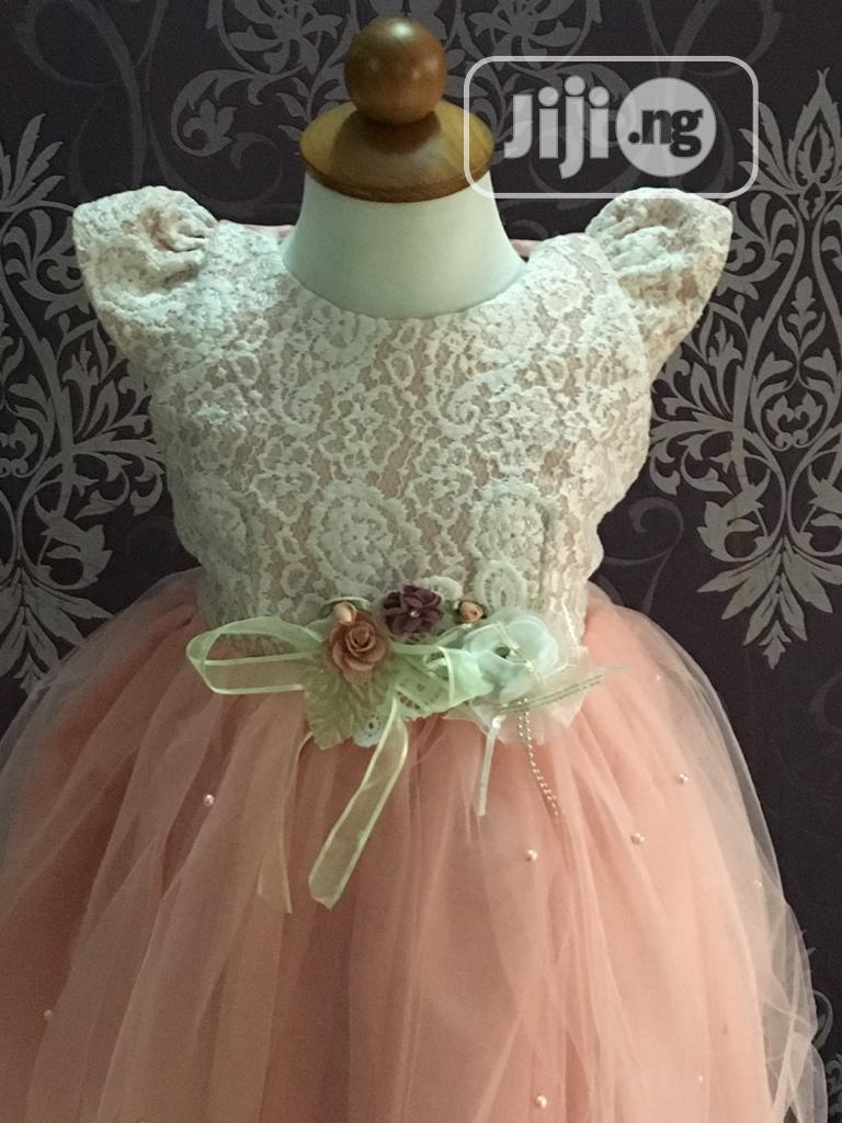 Peach Lace Tulle Ball Dress | Children's Clothing for sale in Ikeja, Lagos State, Nigeria