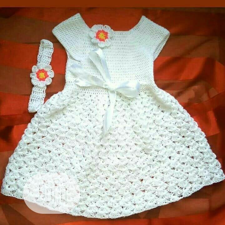 Regal Christening Critchet Dress With Hairban{-0-12months}