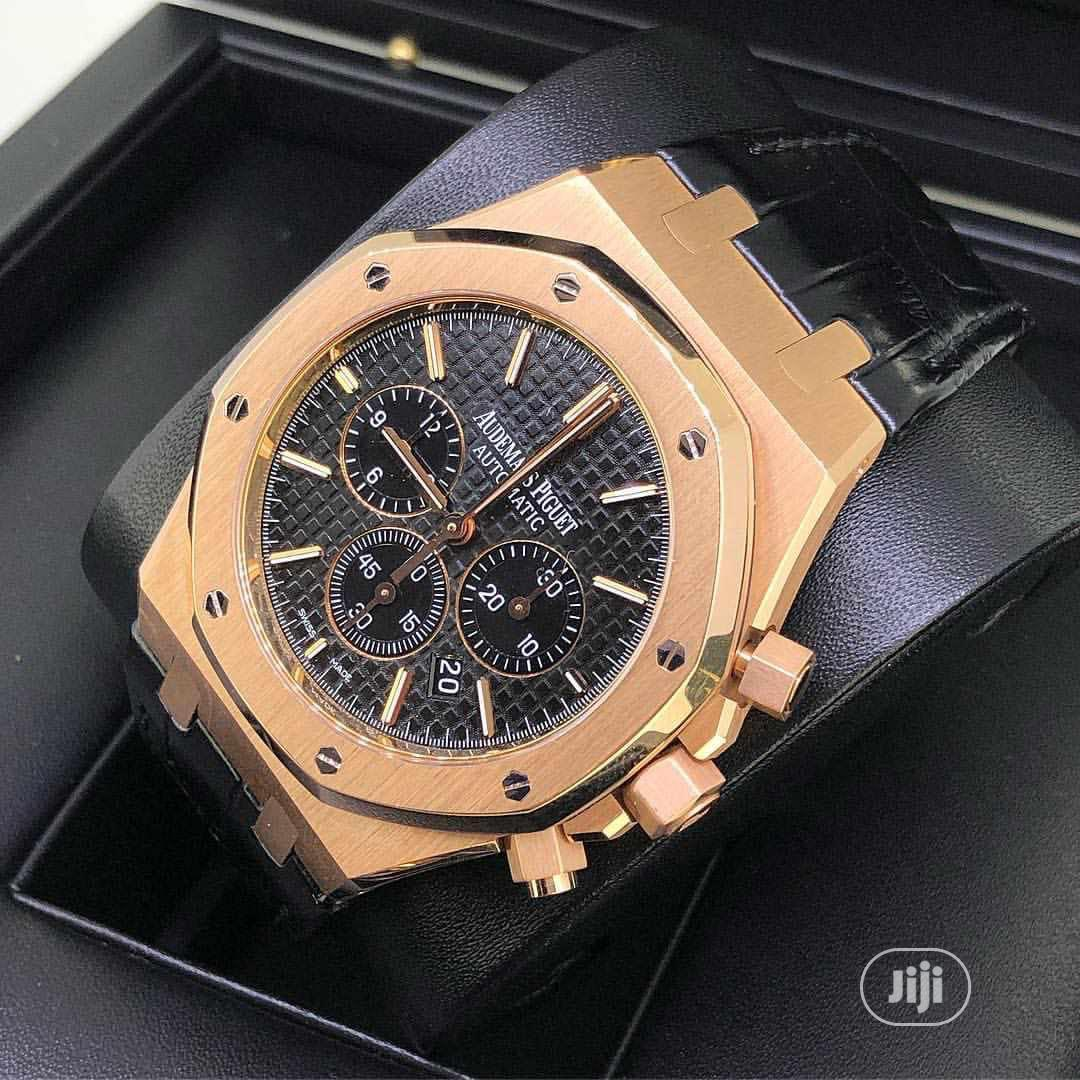 Audemars Piguet (AP) Chronograph Rose Gold Leather Strap Watch