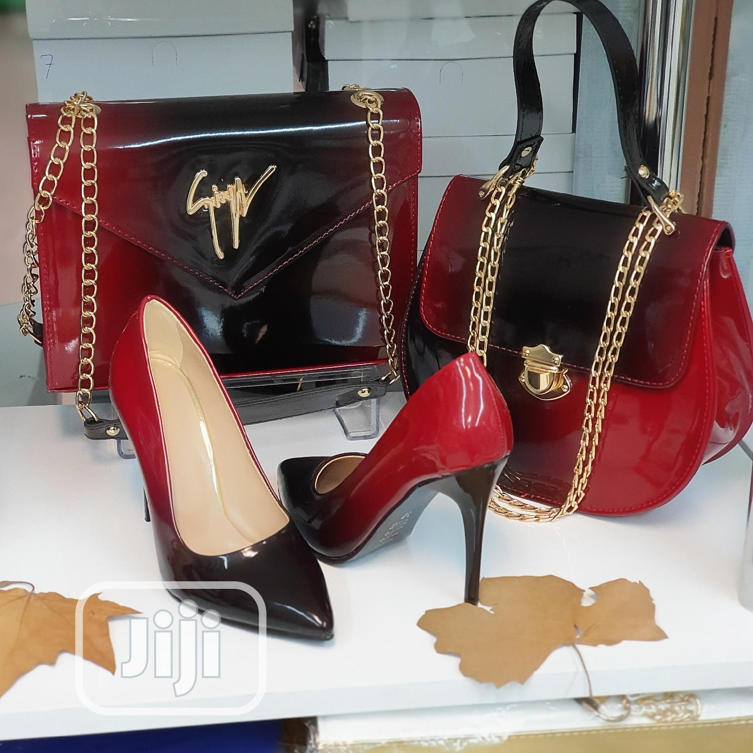 Oxblood And Nude Set(Shoe And Bag).A Lovely Set