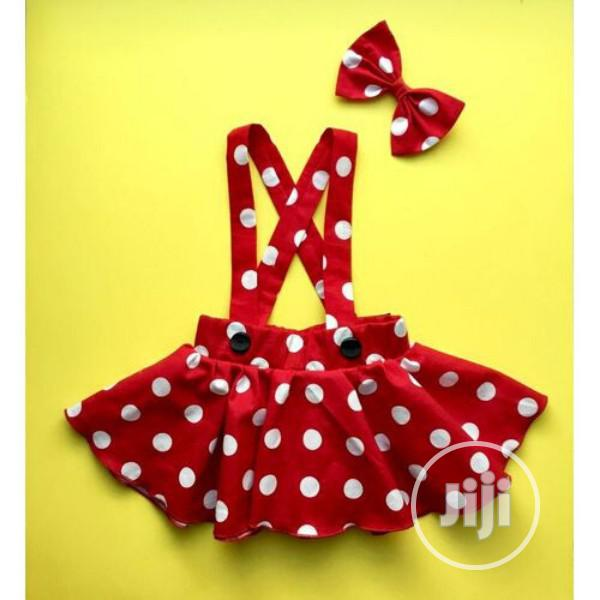 Kids Girls Red Polka Dot Dungarees Skirt With Hair Bow