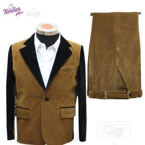 Boys 2pcs Suit- Brown Corduroy With Black Details | Children's Clothing for sale in Lagos State, Ojodu
