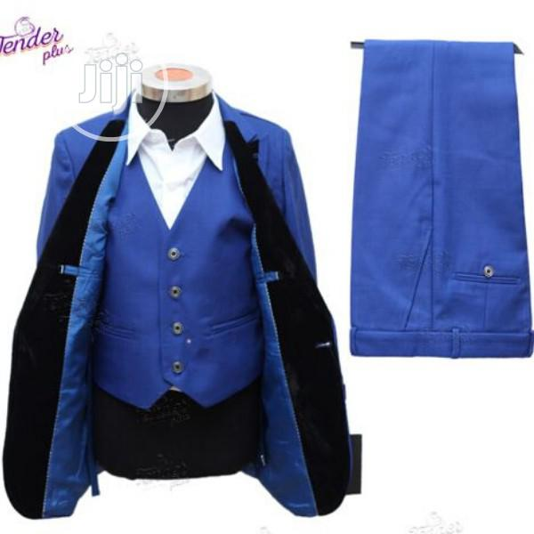 Boys 3pcs Tuxedo Suit- Royal Blue With Black Details | Children's Clothing for sale in Ojodu, Lagos State, Nigeria