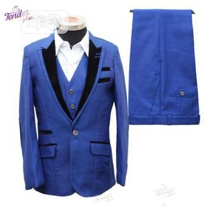 Boys 3pcs Tuxedo Suit- Royal Blue With Black Details | Children's Clothing for sale in Lagos State, Ojodu
