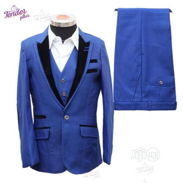 Boys 3pcs Tuxedo Suit- Royal Blue With Black Details