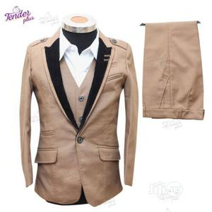 Boys 3pcs Tuxedo Suit- Carton Brown With Black Lapel | Children's Clothing for sale in Lagos State, Ojodu