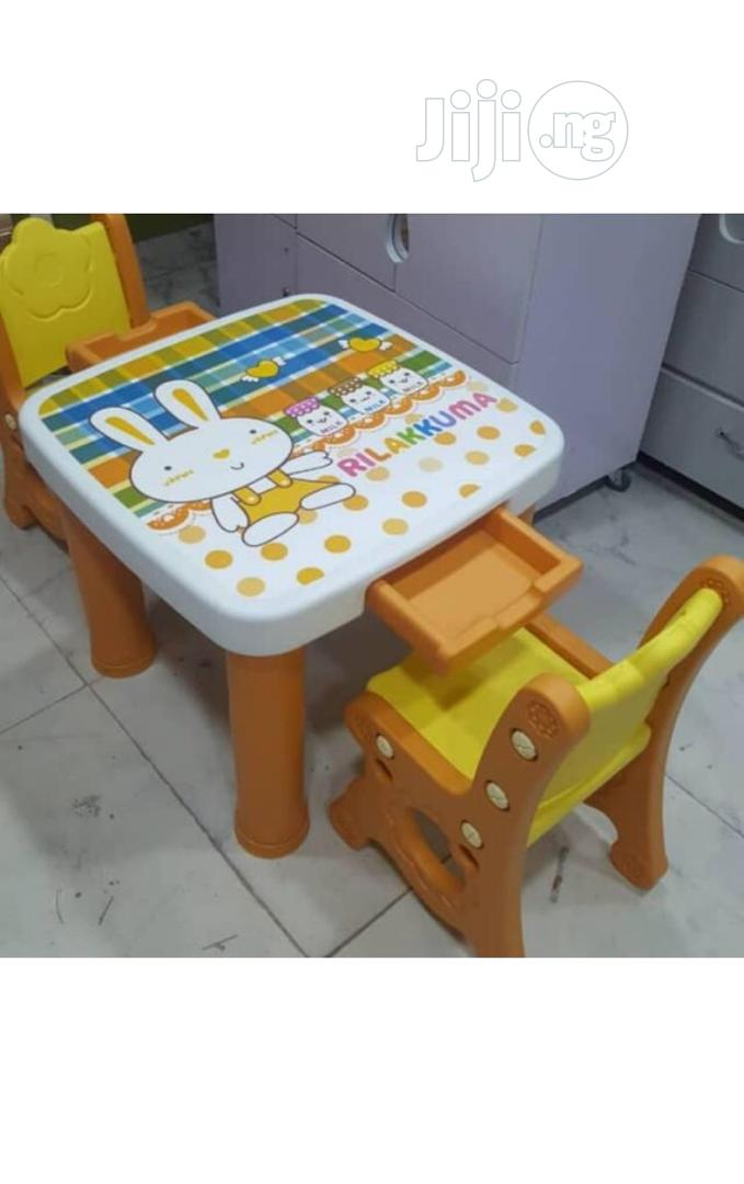 Kids Plastic Table And Chair With Drawer