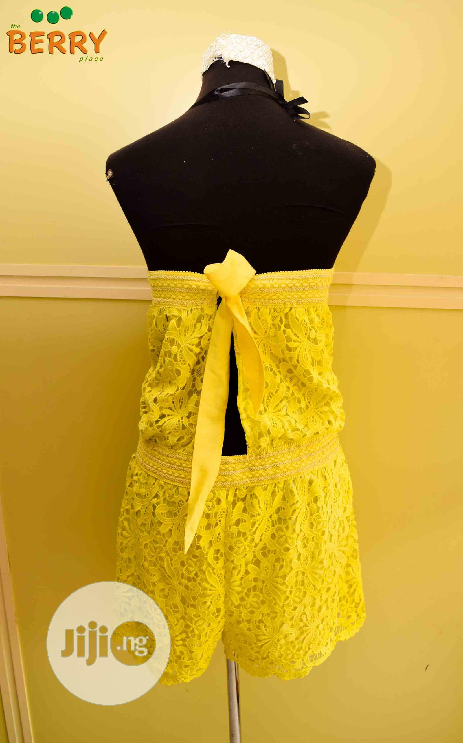 Ladies Quality Lacy Playsuit With Open Back Design | Clothing for sale in Surulere, Lagos State, Nigeria