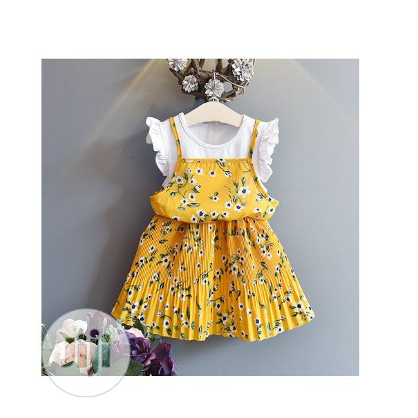 Yellow Floral Dress With Attached Tee - 3yrs