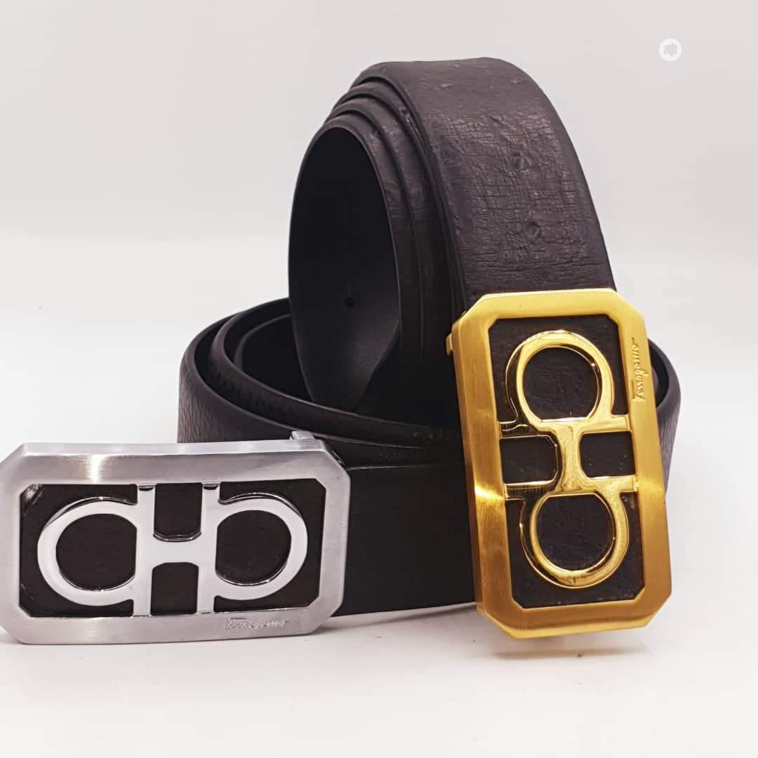 Ferragamo Leather Belt For Men's Black