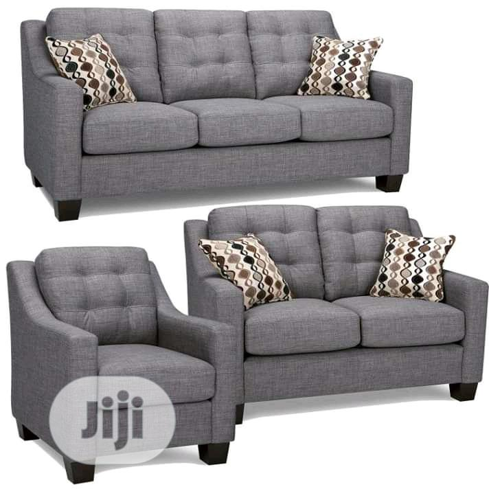 Executive L-shape Fabric Sofa Chair With Pillow 7seater Set