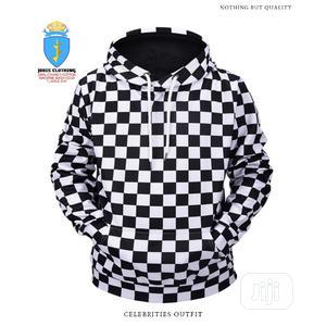 Cotton Black White Checkers Men Hoodie Wear   Clothing for sale in Lagos State, Lagos Island (Eko)