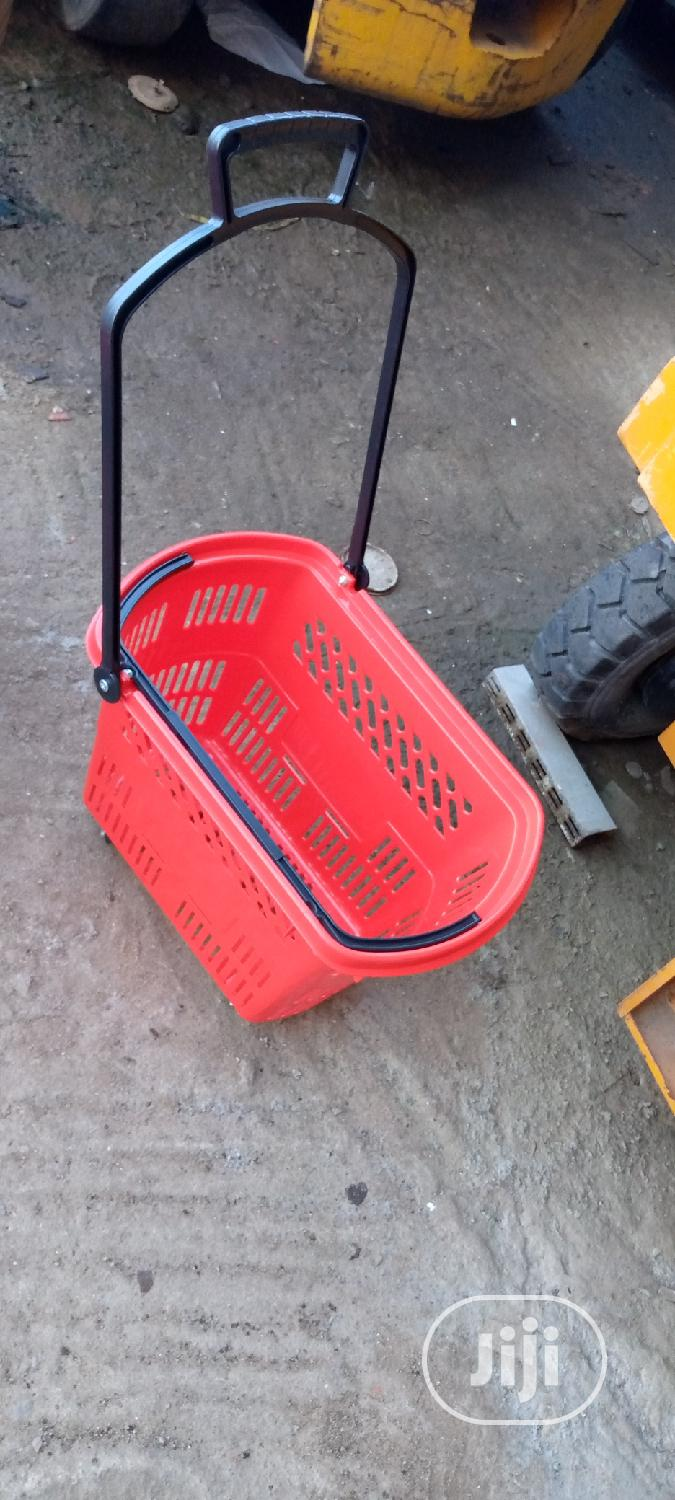 Trolley Shopping Basket Red Colour