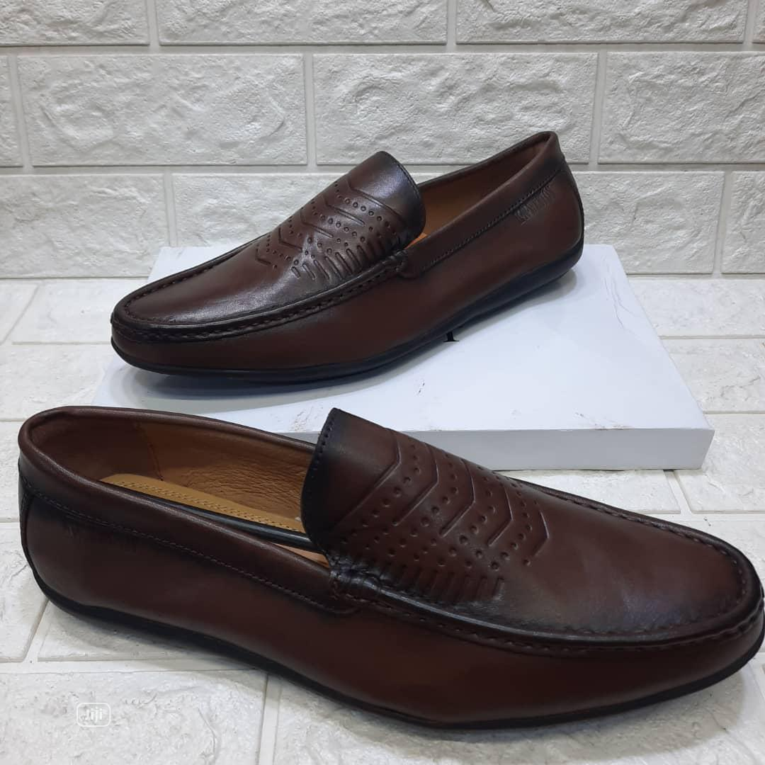 Brown Leather Men's Flat Shoes