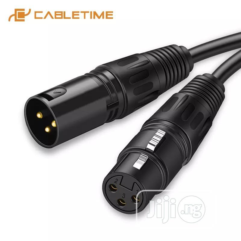 Black 20M XLR Male To XLR Female Microphone Cable