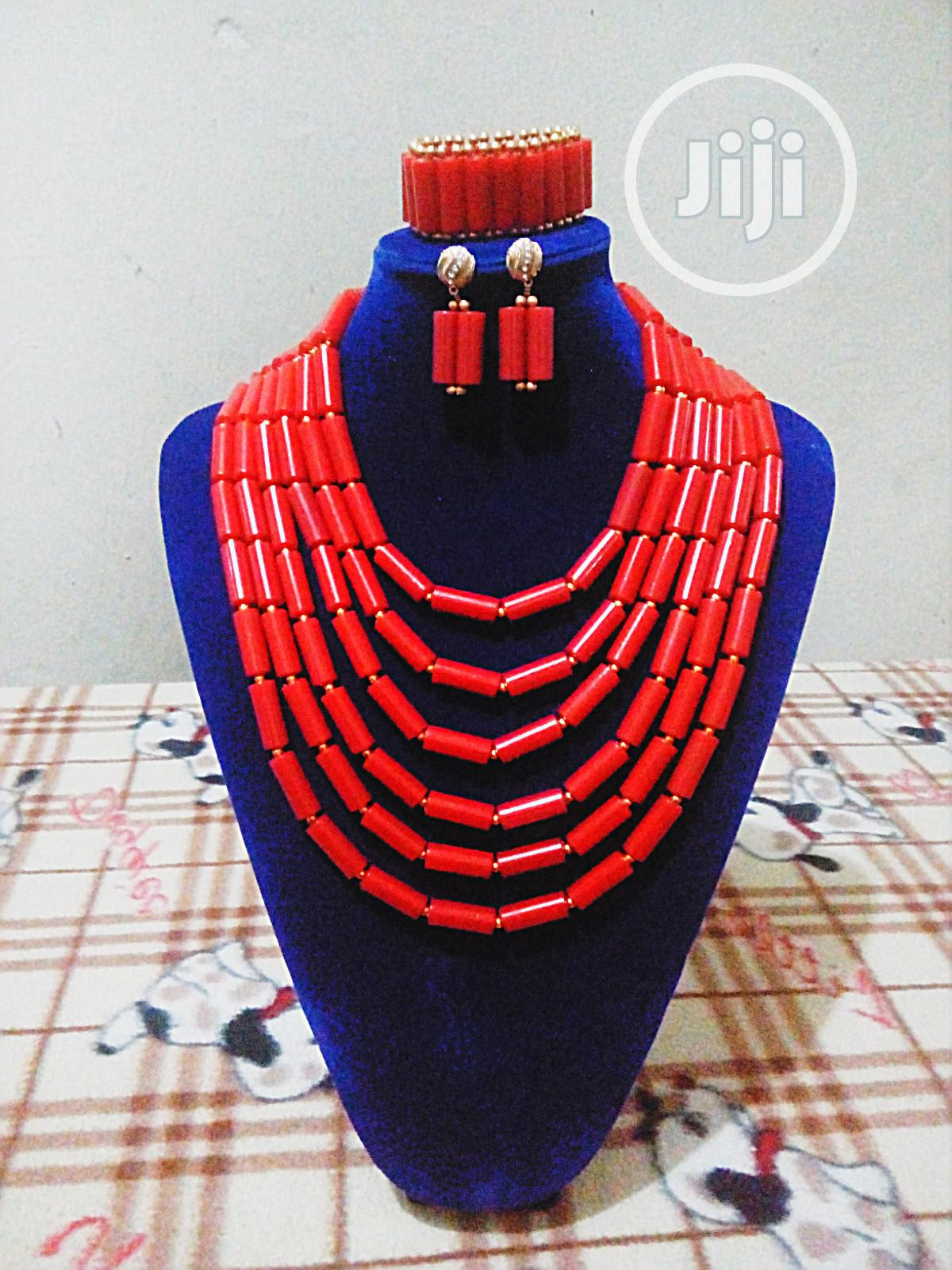 Archive: Red Coral Six Layered Beads