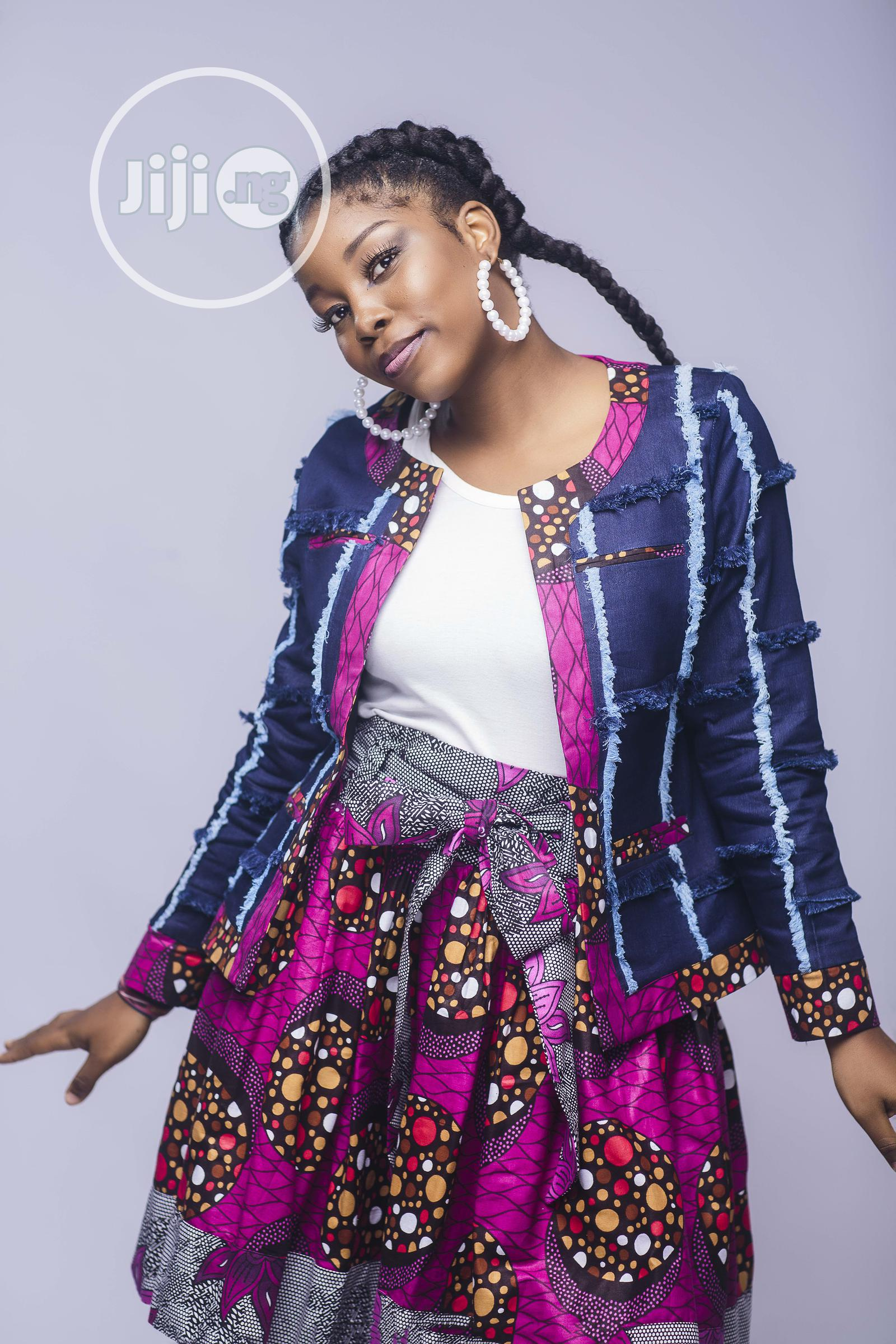 Denim and African Print Tweed Jacket   Clothing for sale in Yaba, Lagos State, Nigeria