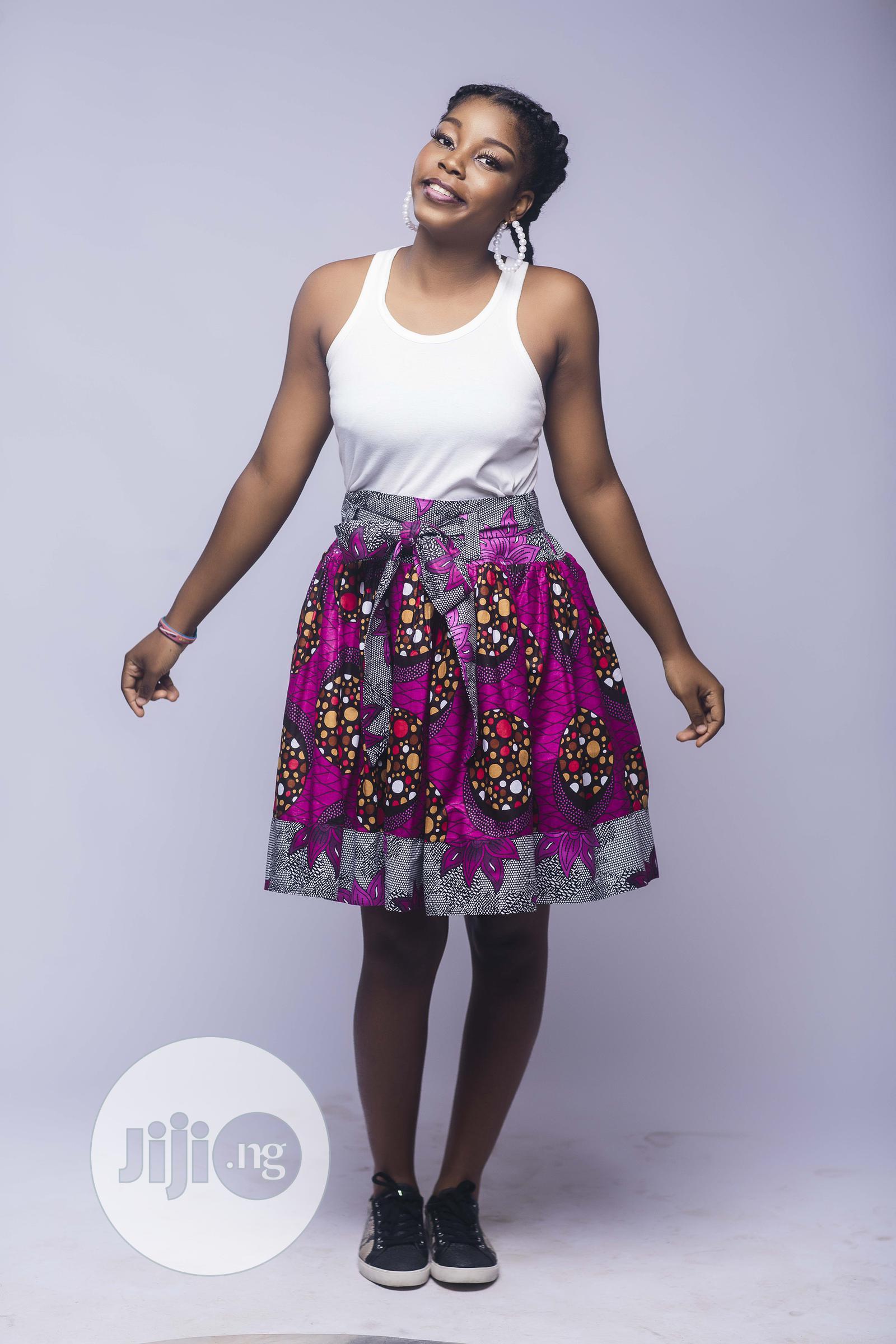 African Print, Ankara Skater Skirt, Short Skirt, Pink
