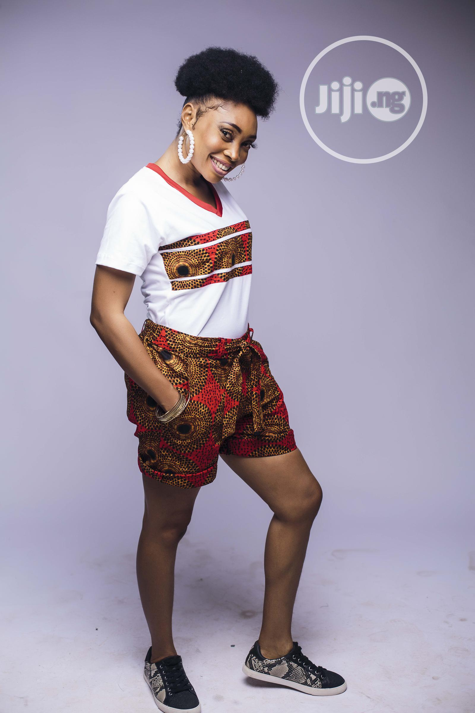 African Print Shorts and T Shirt