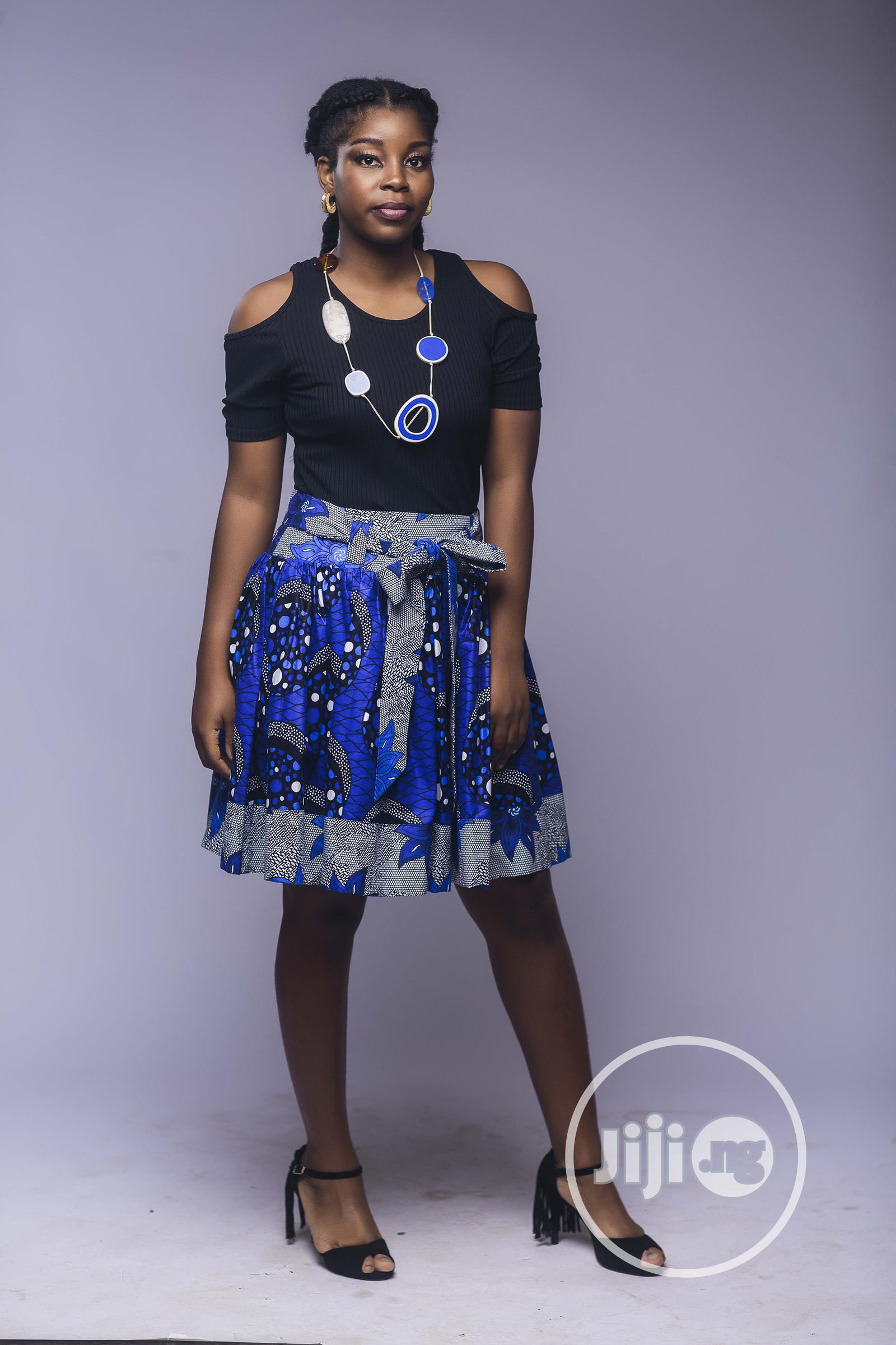 African Print, Ankara Skater Skirt, Short Skirt, Blue