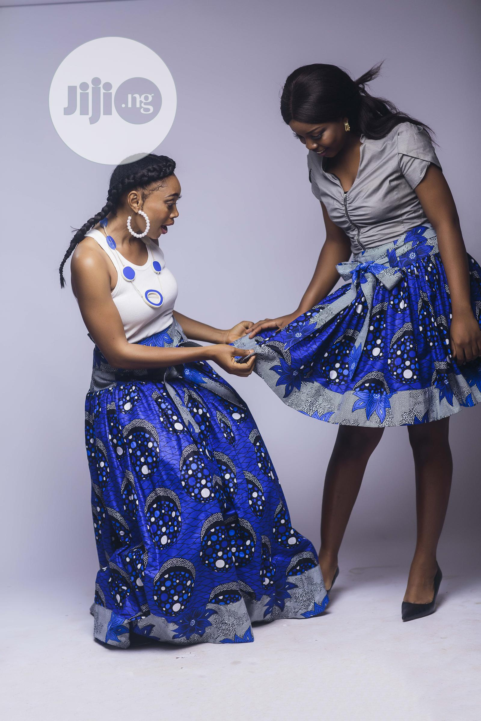 African Print, Ankara Skater Skirt, Short Skirt, Blue   Clothing for sale in Yaba, Lagos State, Nigeria