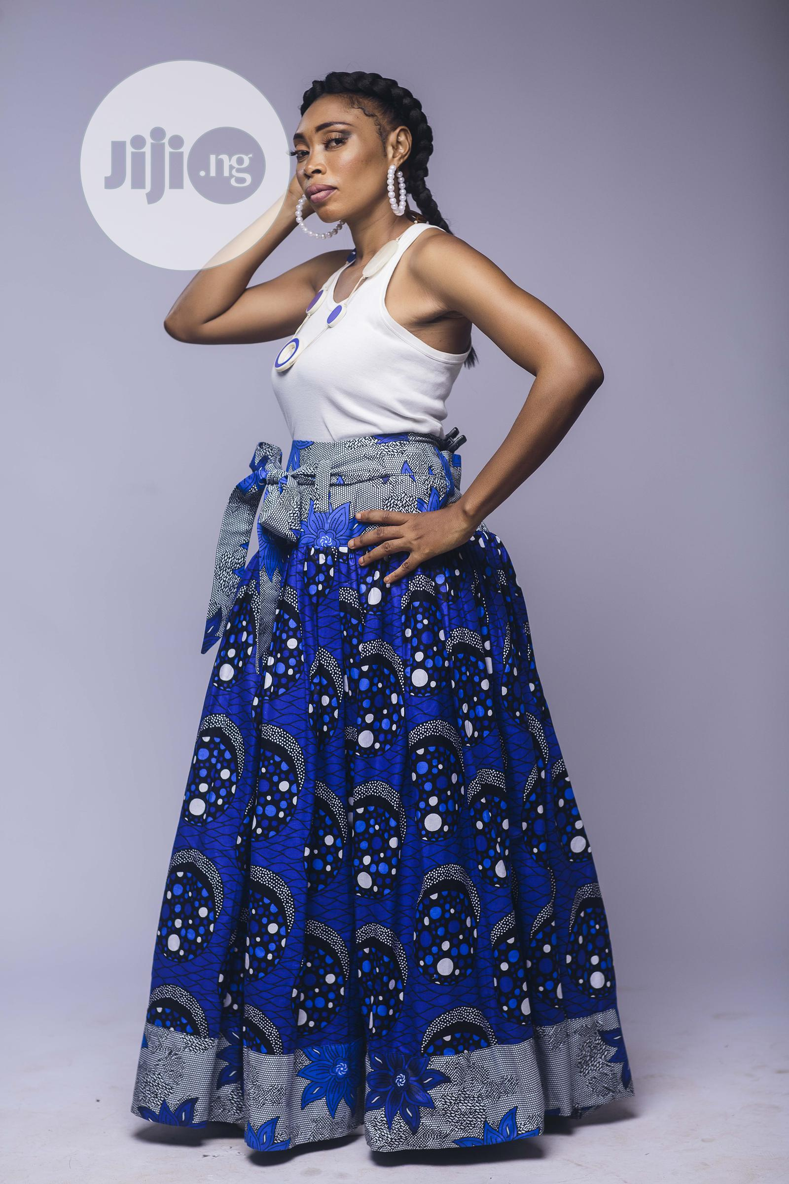 African Print, Ankara Maxi Skirt, Long Skirts, Blue | Clothing for sale in Yaba, Lagos State, Nigeria